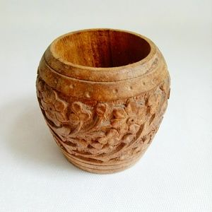 Other - Vintage Hand Carved Wooded Dish Cup Floral Boho